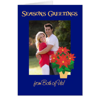 Poinsettia Season's Greetings From Both  Photo Card