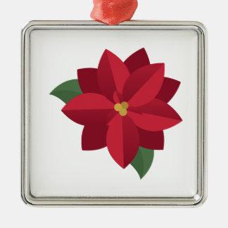 Poinsettia Silver-Colored Square Ornament