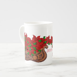 Poinsettia Sled Bone China mug