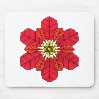 Poinsettia Snowflake Mouse Pad