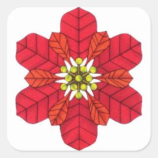 Poinsettia Snowflake Square Sticker