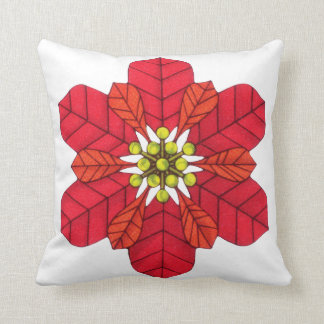 Poinsettia Snowflake Throw Pillow