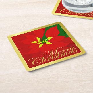 Poinsettia Square Paper Coaster