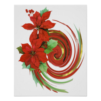 Poinsettia Swirl Poster