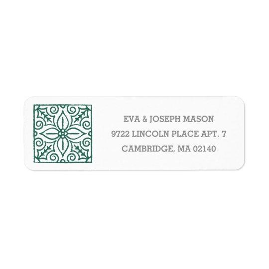 Poinsettia Tile Address Label - Evergreen