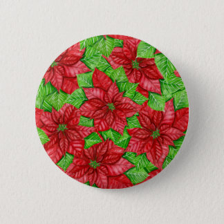Poinsettia watercolor Christmas pattern 2 Inch Round Button