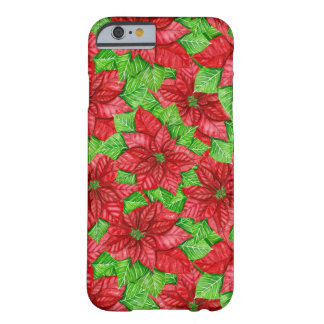Poinsettia watercolor Christmas pattern Barely There iPhone 6 Case