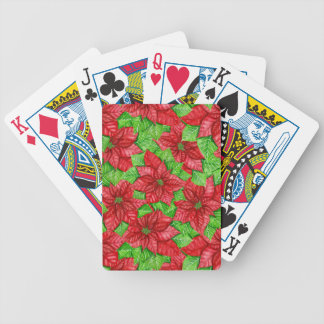 Poinsettia watercolor Christmas pattern Bicycle Playing Cards