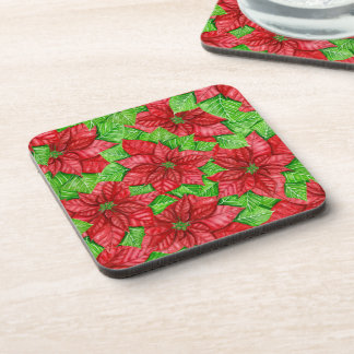 Poinsettia watercolor Christmas pattern Coaster