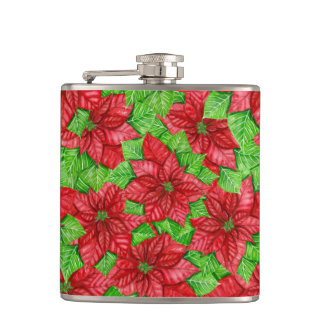 Poinsettia watercolor Christmas pattern Hip Flask