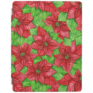 Poinsettia watercolor Christmas pattern iPad Cover