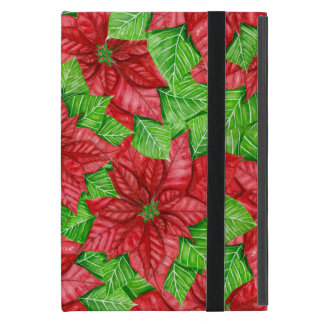 Poinsettia watercolor Christmas pattern iPad Mini Case