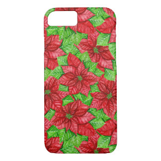 Poinsettia watercolor Christmas pattern iPhone 8/7 Case