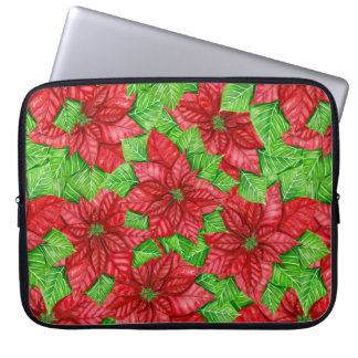Poinsettia watercolor Christmas pattern Laptop Sleeve