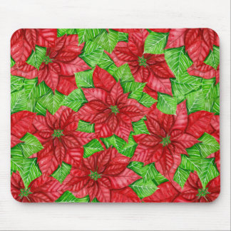 Poinsettia watercolor Christmas pattern Mouse Pad
