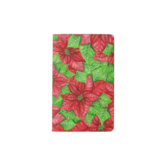 Poinsettia watercolor Christmas pattern Pocket Moleskine Notebook