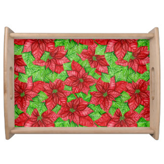 Poinsettia watercolor Christmas pattern Serving Tray