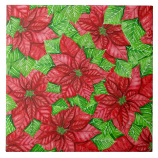 Poinsettia watercolor Christmas pattern Tile