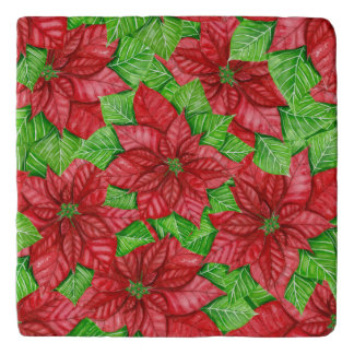 Poinsettia watercolor Christmas pattern Trivet
