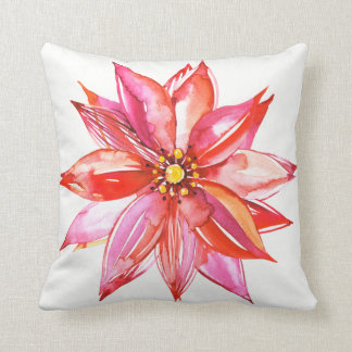 Poinsettia Watercolor Floral Elegant Red Christmas Throw Pillow