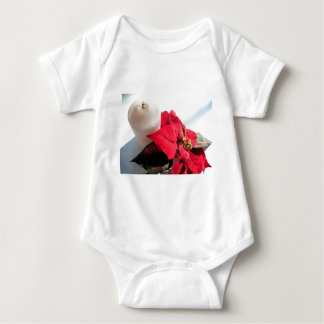 Poinsettia with Candle Baby Bodysuit