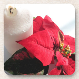 Poinsettia with Candle Beverage Coasters