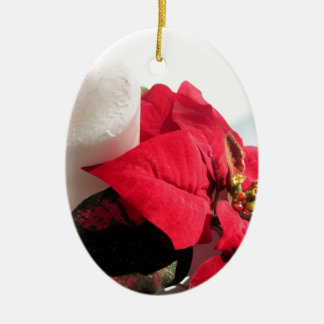 Poinsettia with Candle Ceramic Oval Ornament