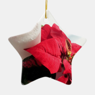 Poinsettia with Candle Ceramic Star Ornament