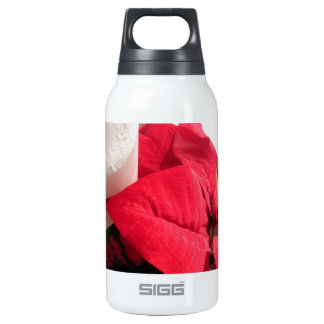 Poinsettia with Candle Insulated Water Bottle