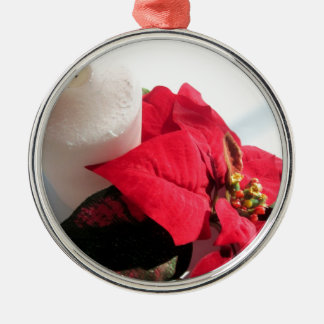 Poinsettia with Candle Silver-Colored Round Ornament
