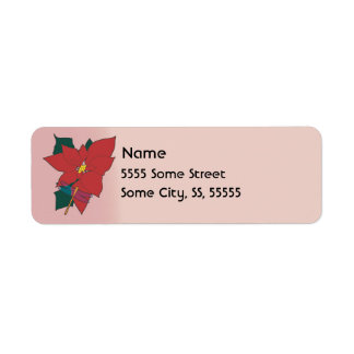 Poinsettia with Dragonfly with red Return Address Label
