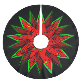 Poinsettia WOW Brushed Polyester Tree Skirt