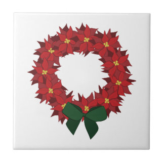 Poinsettia Wreath Ceramic Tile