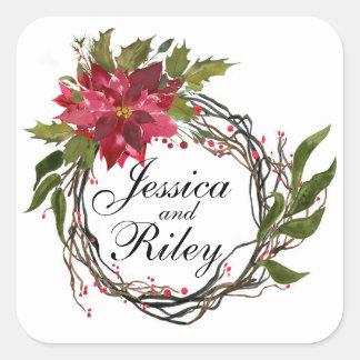 Poinsettia Wreath Leaves & Berries Monogram Square Sticker