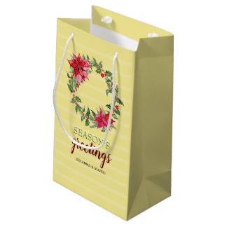 Poinsettia Wreath Personalized Small Gift Bag