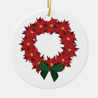 Poinsettia Wreath Round Ceramic Ornament