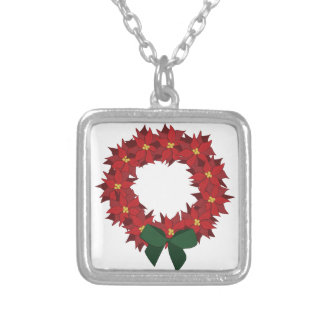 Poinsettia Wreath Silver Plated Necklace