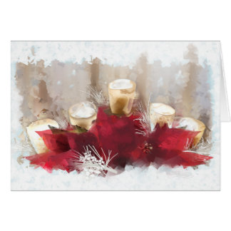 Poinsettias and Candles Christmas Card
