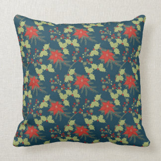 Poinsettias and Holly Christmas Pattern Throw Pillow