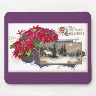 Poinsettias and Moonlit Night Vintage Christmas Mouse Pad