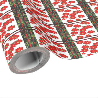 Poinsettias and pine wrapping paper