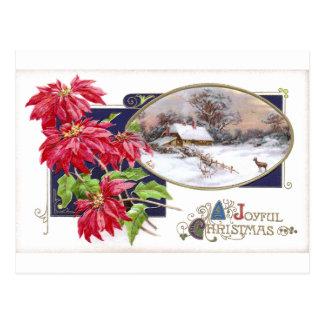 Poinsettias and Snowy Vignette Vintage Christmas Postcard