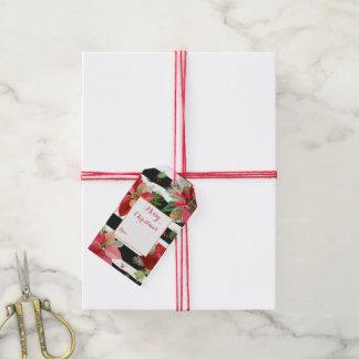 Poinsettias, Black Stripes Christmas Gift Tags