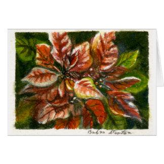"""Poinsettias"" Blank Note Card"