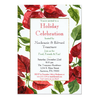 Poinsettias Christmas Holiday Party Invitation
