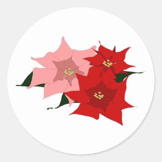 Poinsettias Classic Round Sticker