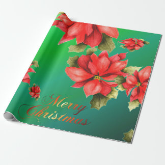 Poinsettias Custom Photo Gloss Wrapping Paper