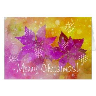 Poinsettias et flocons de Noël Card