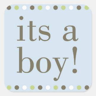 Point de polka bleu son un garçon autocollants carrés