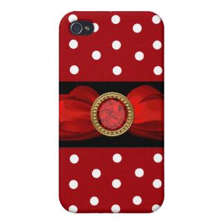 Point de polka rouge et blanc étuis iPhone 4